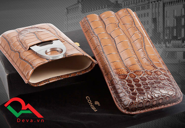 Bao da Cigar có dao cắt Cohiba da cá sấu loại 3 điếu 3304C