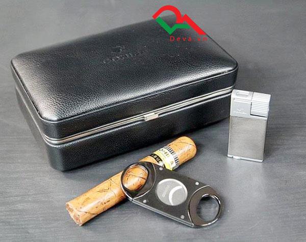 Hộp đựng xì gà giữ ẩm có dao cắt, bật lửa chính hãng Cohiba XJ-T111