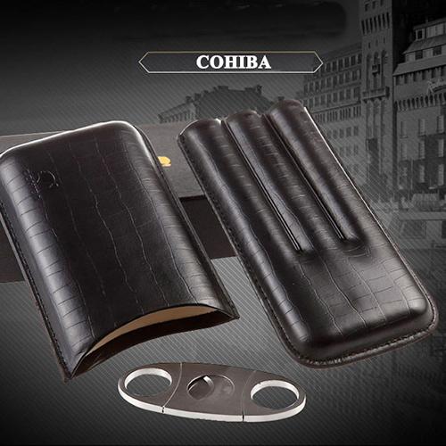 Bao da Cigar 3 điếu kèm dao cắt chính hãng Cohiba BLP307B