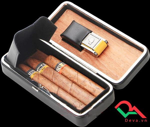 Set hộp đựng, bật lửa hút xì gà chính hãng Cohiba BLH515